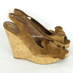 BCBG Brown Suede Floral Platform Wedge Sandal